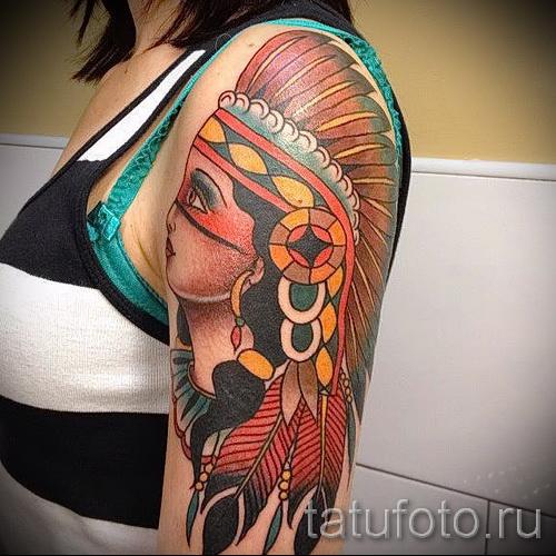Фото нью скул тату - индианка на плече и руке