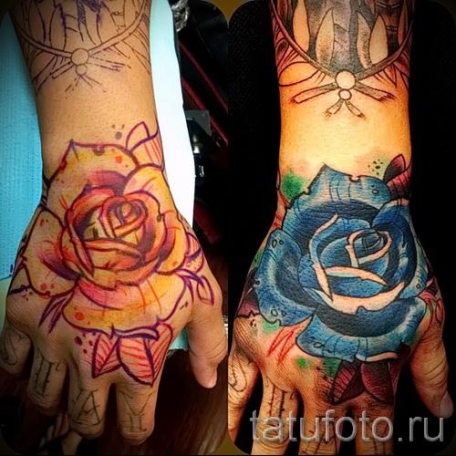 Фото нью скул тату - красивый бутон розы на кулак