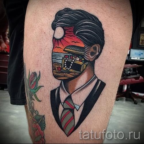 Фото нью скул тату - мужчина без лица