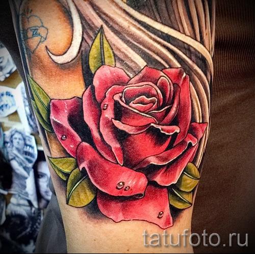 Фото нью скул тату - цветок розы