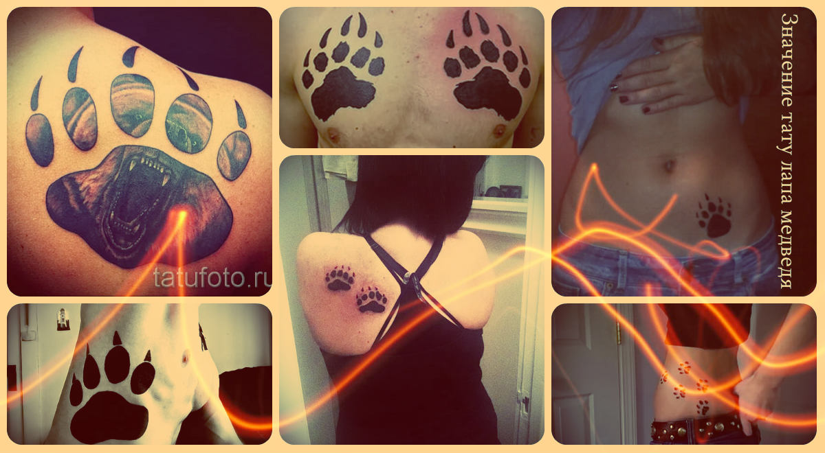 Значение тату лапа медведя - примеры готовых тату на фото