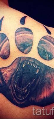 Тату лапа медведя пример на фото – большая мужская татуировка на лопатке у мужчины