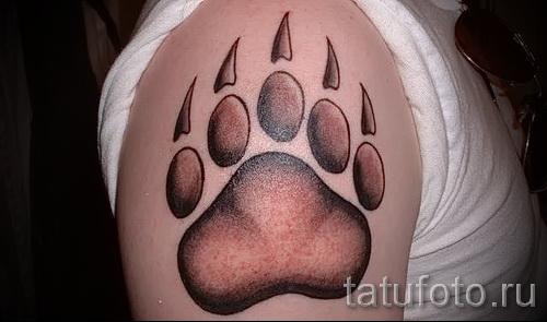 Тату лапа медведя пример на фото - коричневая татуировка на плече у мужчины
