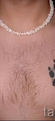 Тату лапа медведя пример на фото – парная тату с символами на груди у парня