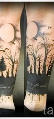 Тату лес и луна