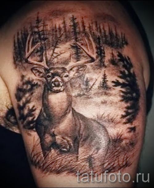 Тату лес и олень