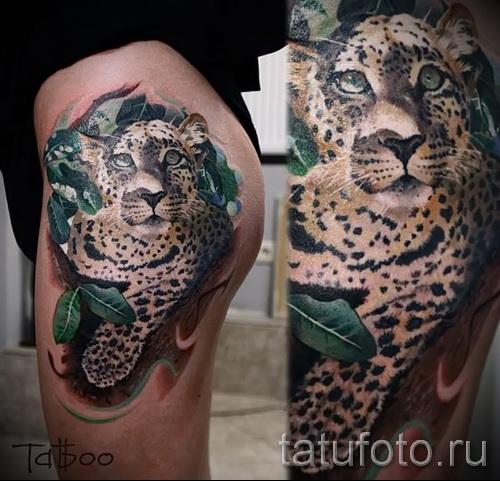 Фото тату барс - красивая татуировка на ноге и бопе у девушки