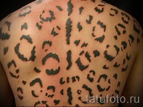 Фото тату барс - окраска пятнами на спине у мужчины