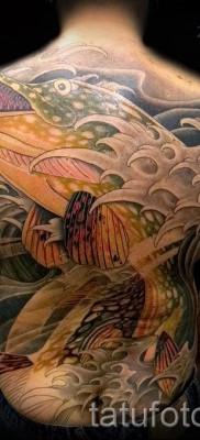 Фото тату щука – большая татуировка на всю спину у мужчины