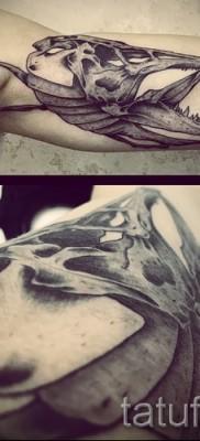 Фото тату щука – вариант с черепом рыбы на руку