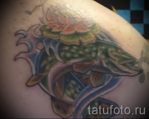Фото тату щука - рыбацкий вариант татуировки