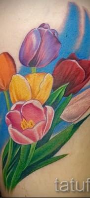 тату тюльпан фото – разноцветные цветы в тату на ноге