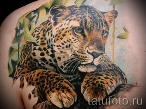 Фото тату барс - вариант с животным в листве