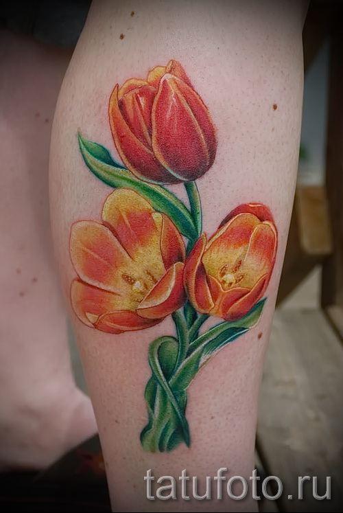 тату тюльпан фото - огненные цветы
