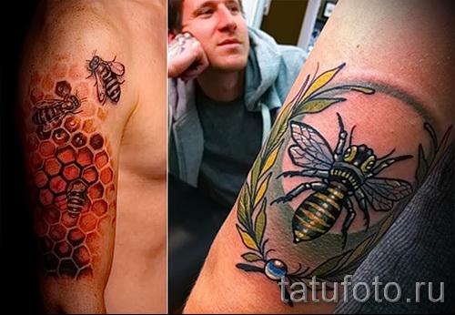 Пример тату пчелы на фото - пара вариантов для татуировки мужчине
