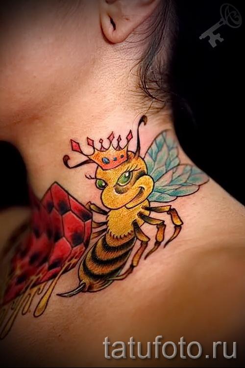 Пример тату пчелы на фото 20