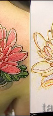 Пример тату хризантема на фото № 13
