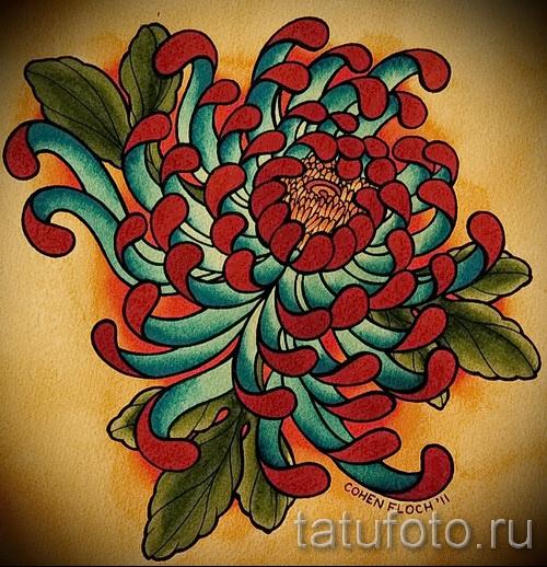 Пример тату хризантема на фото № 19