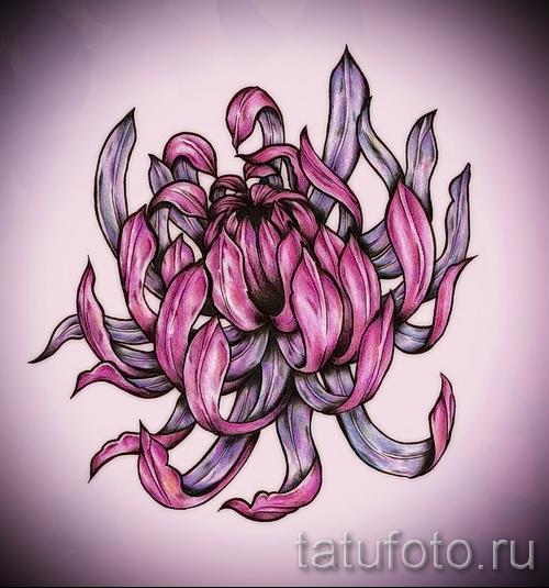 Пример тату хризантема на фото № 20