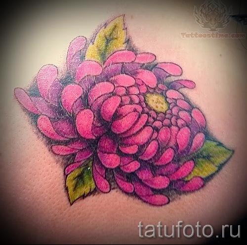 Пример тату хризантема на фото № 23