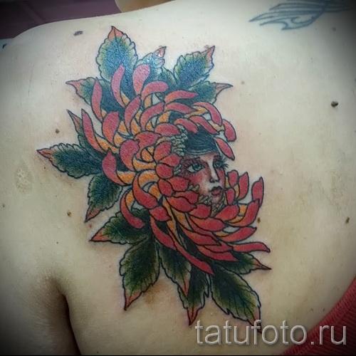 Пример тату хризантема на фото № 54