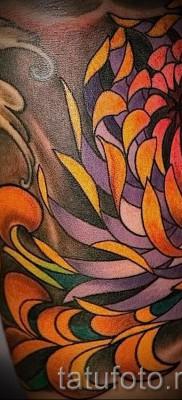 Пример тату хризантема на фото № 59