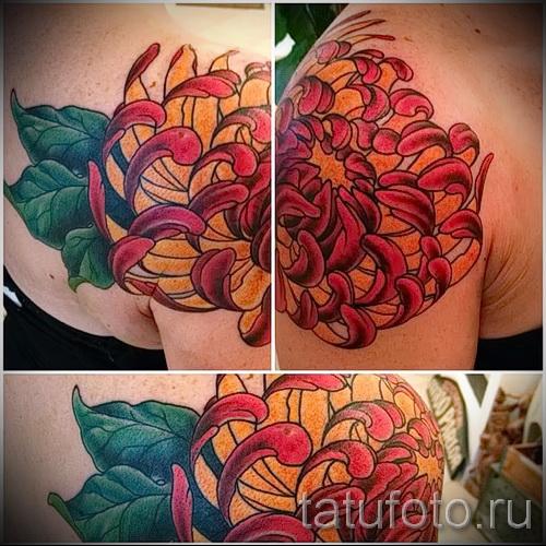 Пример тату хризантема на фото № 7