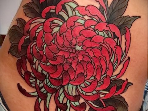 Пример тату хризантема на фото № 82
