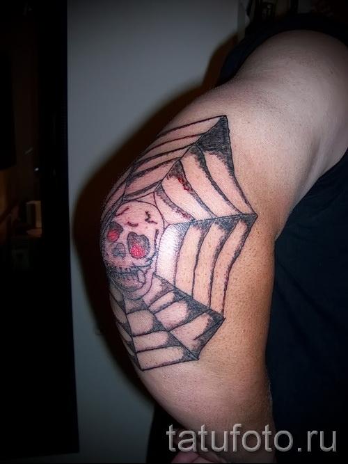 Тату паутина на локте - фото готовой татуировки - 20122015 № 13