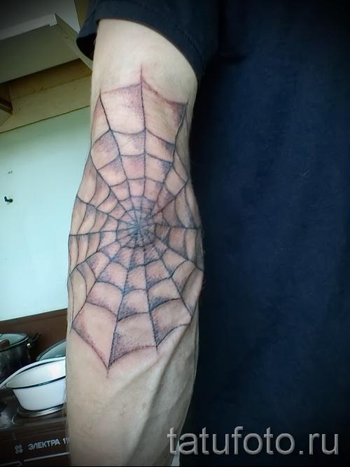 Тату паутина на локте - фото готовой татуировки - 20122015 № 15
