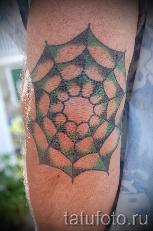 Тату паутина на локте - фото готовой татуировки - 20122015 № 17
