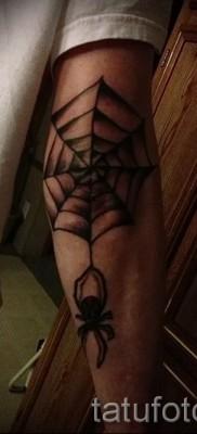 Тату паутина на локте – фото готовой татуировки – 20122015 № 21