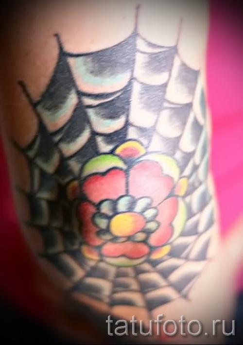 Тату паутина на локте - фото готовой татуировки - 20122015 № 30