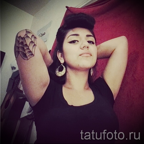 Тату паутина на локте - фото готовой татуировки - 20122015 № 38