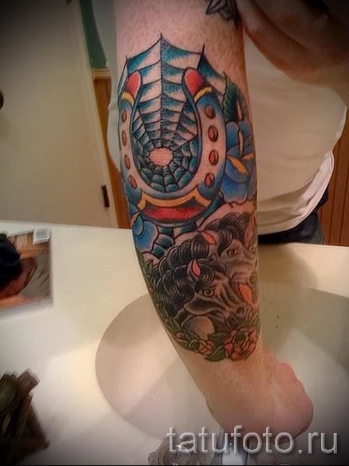 Тату паутина на локте - фото готовой татуировки - 20122015 № 39
