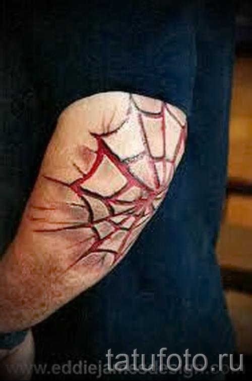 Тату паутина на локте - фото готовой татуировки - 20122015 № 41