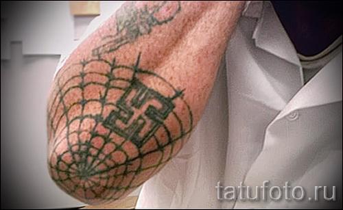 Тату паутина на локте - фото готовой татуировки - 20122015 № 42
