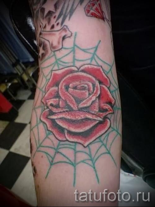 Тату паутина на локте - фото готовой татуировки - 20122015 № 44