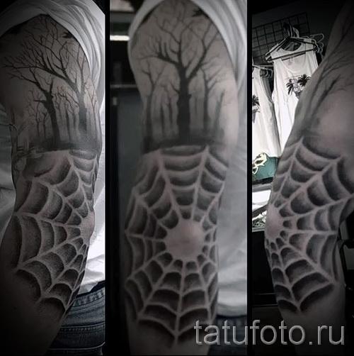 Тату паутина на локте - фото готовой татуировки - 20122015 № 52