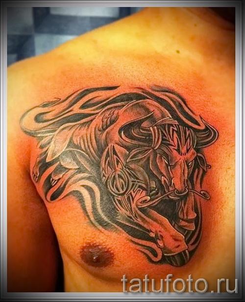 Фото готовой тату знак зодиака телец - крутая трайбл тату на груди парня