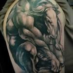 Фото готовой тату знак зодиака телец - мускулистое создание оборотень