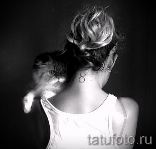 Фото готовой тату знак зодиака телец - тонкими линиями символ на шее девушки с кошкой