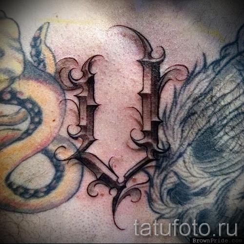 буква v тату - фото готовой татуировки - 20122015 № 2