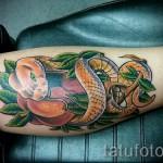 змея в цветах тату - фото вариант от 21122015 № 5