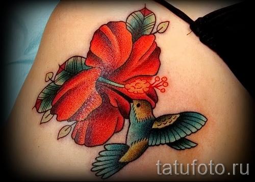 колибри с цветком тату - фото вариант от 21122015 № 2