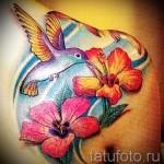 колибри с цветком тату - фото вариант от 21122015 № 3