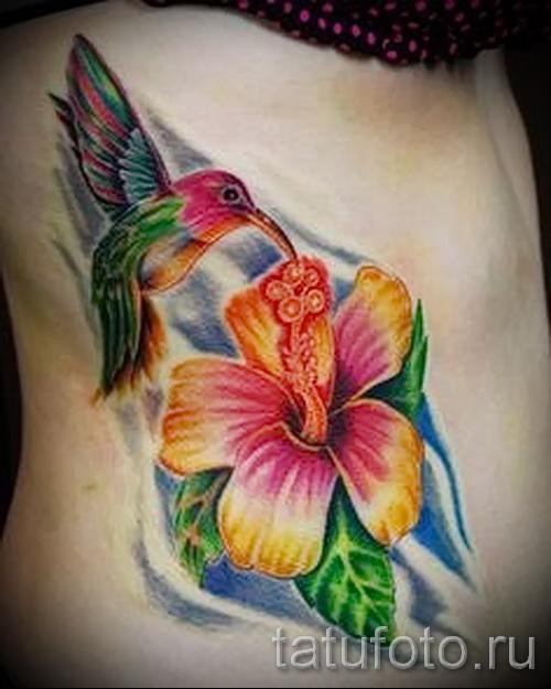 колибри с цветком тату - фото вариант от 21122015 № 4