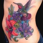 колибри с цветком тату - фото вариант от 21122015 № 5