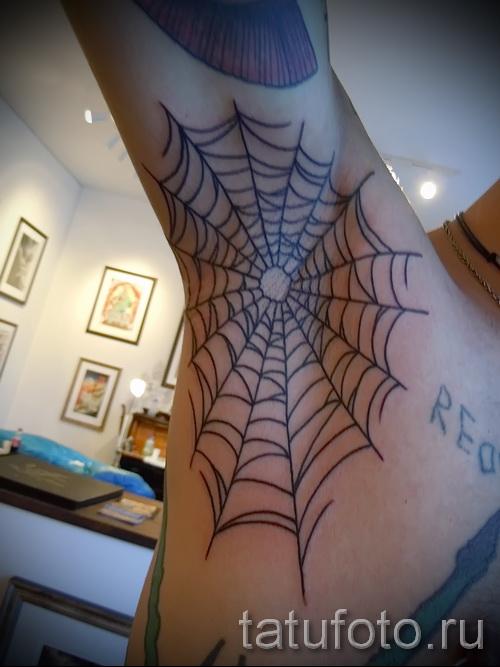 паутина на руке тату - фото готовой татуировки - 20122015 № 8