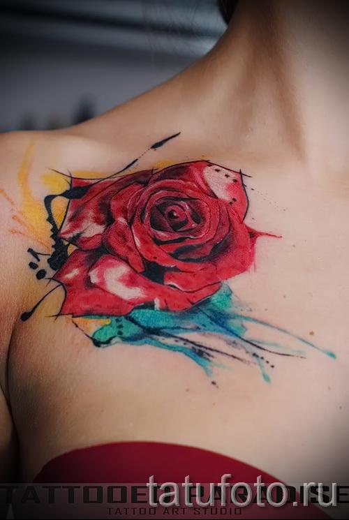 роза акварель тату - фото вариант от 15122015 № 10
